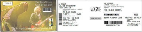 the black crowes Billet concert
