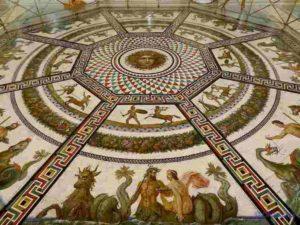 L'Ermitage - Mosaïque octogonale du sol de la salle du Pavillon