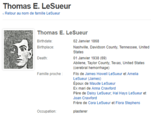 fiche wikipedia de Thomas E. LESUEUR
