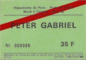 TICKET DE CONCERT Peter GABRIEL 4 octobre